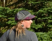 Newsboy Cap Fuchsia Plaid and Grey Recycled Hat Ready to Ship OOAK Eco Friendly Peace Sign Button Tartan Purple Pink