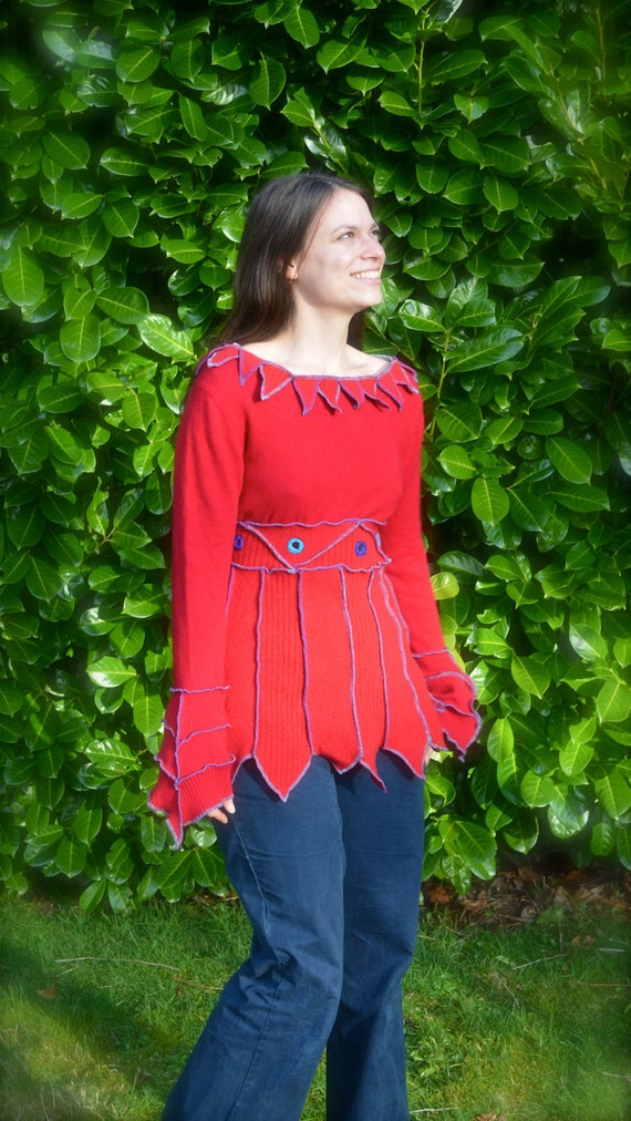 SALE Cashmere & Lambswool Elf Tunic Top Holiday Red Turquoise Gypsy Pixie Handmade Shisha Mirror Wearable Art Upcycled Women's Clothing