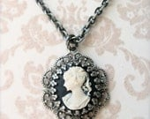 Antique Silver Cameo Necklace.  FREE SHIPPING