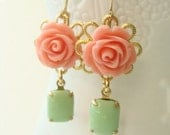 Coral And Green Vintage Style Earrings.  Golden