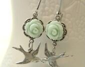 Antique Silver Sparrow Earrings.  Mint Green Flower
