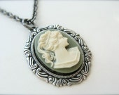 Vintage Style Green Cameo Necklace In Antique Silver.