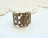 Antique Brass Miraculous Medal Ring.  Limited quantity.