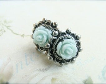 Minty Green Roses.  Antique Silver Post Earrings.