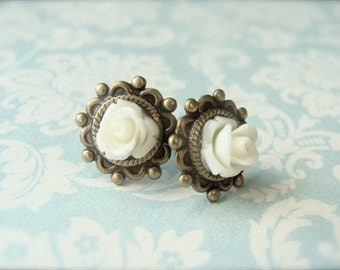 Cream Roses.  Antique Brass Post Earrings.