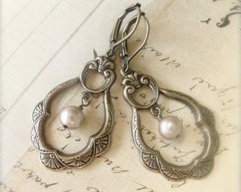 Antique Brass Pearl Earrings with Swarovski pearls.