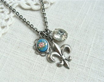 Fleur De Lis Charm Necklace.  Antique silver shabby chic cameo and vintage rhinestone.  LAST ONE.