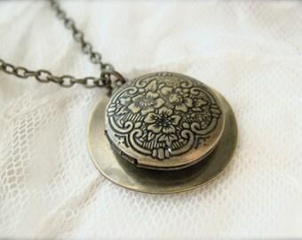 Antique Brass Locket Necklace.
