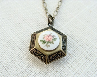 Vintage style locket necklace.  Pink floral cameo.