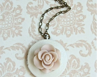 Pale Pink Rose Locket Necklace.  Antique Brass Chain With A Creamy Ivory Locket.