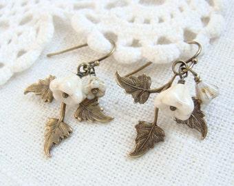 Fall Leaves Glass Beaded Earrings.  Antique Brass.