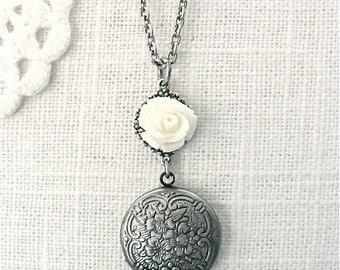 Simple ivory rose locket necklace.  Bridal wedding day necklace photo keepsake.