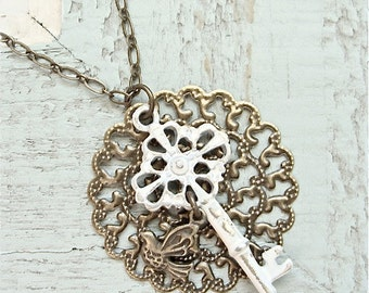 Rustic filigree key charm necklace.  Antiqued shabby chic style.  Jewelry by Sweet And Simple.  Christmas gift.  Stocking stufferl