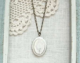 Weathered vintage style locket necklace.  Antique white photo keepsake gift.  Jewelry by Sweet And Simple.