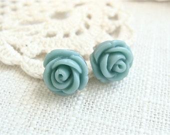 Turquoise blue rose bud post earrings.  Stud earrings.