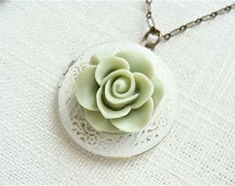 Sage green rose flower locket necklace.  Cream ivory pendant.  Photo keepsake jewelry.