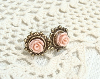 Coral Roses. Antique Brass Post Earrings.