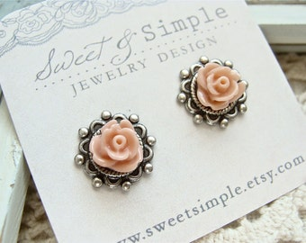 Coral Roses.  Antique Silver Post Earrings.