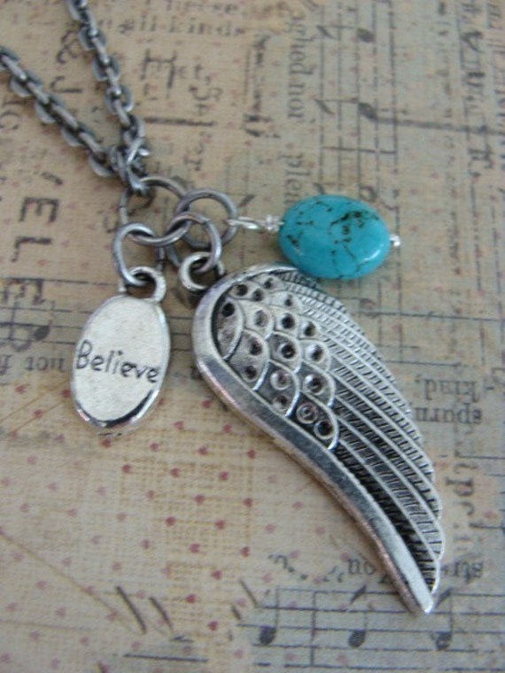 Believe.  Wing Necklace