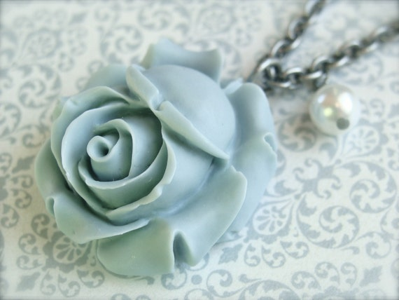 Baby Blue Blooming Rose Necklace.  Antique Silver