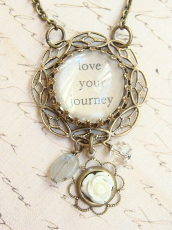 Love Your Journey Inspirational Charm Necklace.  Antiqued Brass
