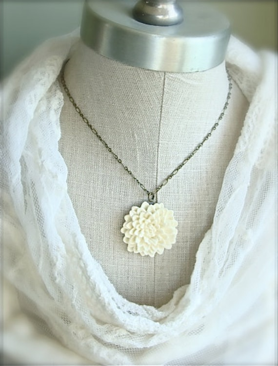 Creamy mum necklace.  Antique brass.