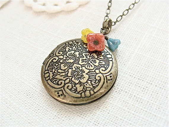 Floral etched antique brass beaded locket necklace.  Colorful bead mix turquoise coral and yellow.