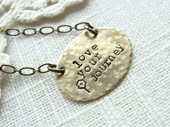 Love Your Journey.  Antique Brass Hand Stamped Inspiration Necklace.  Graduation Gift.  Dainty And Simple.