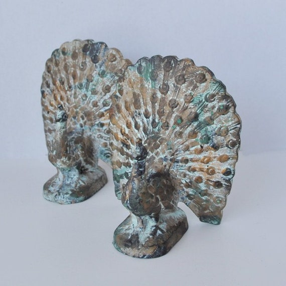 Stunning Verdigris Peacock Bookends By Justvintage2 On Etsy