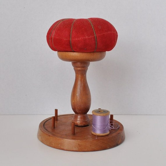 Wooden Sewing Pin Cushion Stand Amp Spool Holder
