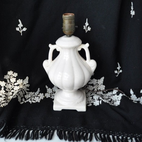 Small White Pottery Lamp Shabby n Chic Style