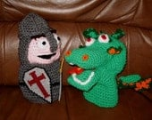 Crocheted Knight and Dragon hand puppet set