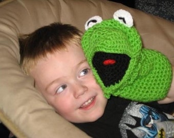 Crocheted frog hand puppet