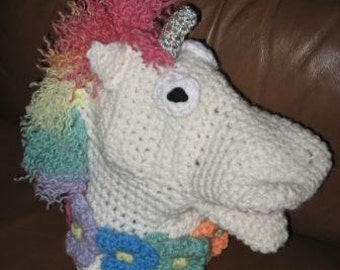 Crocheted Rainbow Unicorn Hand Puppet