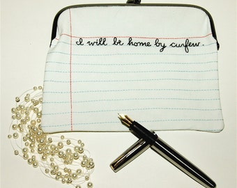 I will be home by curfew - School Night Party Clutch Purse