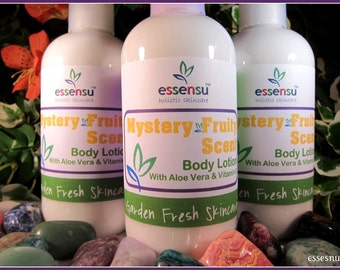 Hydrating Aloe and Vitamin E Fruit Scented Natural Body Lotion | Fun Mystery Scent | You Save Item | Vegan | Nourishing Formula - 8 oz