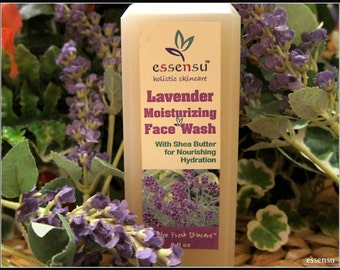 Organic Lavender Moisturizing Shea Butter Botanical Face Wash | All Skin Types | Nourishing Cleanser | Dry Skin | Vegan | No Sulfates - 6 oz