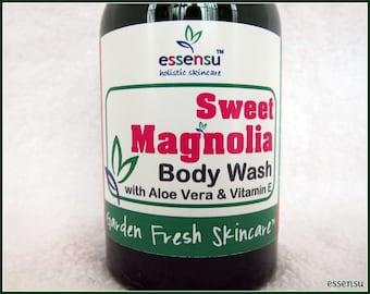 Magnolia Aloe Vera Vitamin E Natural Botanical Body Wash | Vegan | Suitable for Sensitive Skin | Hydrating | No Sulfates or Parabens - 4 oz