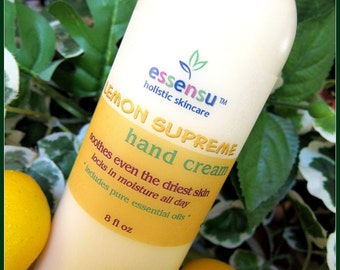 Organic Natural Lemon Protective Age Repair Hand Cream | Restores Dry Skin | Ideal for Gardeners | Locks in Moisture | No Parabens - 8 oz