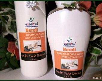 Neroli Glycolic Botanical Face Wash and Toner Set | Brighten Sallow Skin | Aging Skin Facial Care Duo | Blemished Skin | Vegan | SAVE on Set