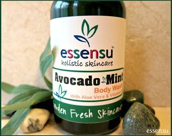 Avocado Mint Organic Aloe Vera Botanical Body Wash | No Sulfates or Parabens | Vegan | Suitable for Sensitive Skin | Unique Spa Scent - 8 oz
