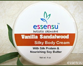 Vanilla Sandalwood Silky Rich Nourishing Body Cream with Vegan Silk Protein | Rejuvenates Dry Skin | Luxury Formula | No Parabens - 4 oz