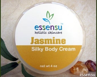 Jasmine Replenishing Body Cream with Vegan Silk Protein | Absorbs Quickly | Enriched with Nourishing Soy Butter | Essential Oil Cream - 4 oz