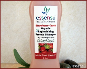 Strawberry Crush Organic Argan Oil Best Replenishing Protein Dry Hair Natural Shampoo | Damaged , Color Treated Hair | No Sulfates - 8 oz