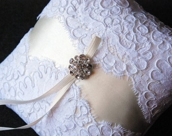 Ring Bearer Pillow - White and Cream Lace Ring Pillow with Rhinestones - Blair