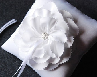 Ring Bearer Pillow - White Satin Ring Pillow With Handcute Flower and Rhinestone Brooch - Aerin