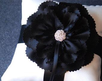 Ring Bearer Pillow - Light Ivory Ring Cushion With Black Satin Handmade Flower - Jackie