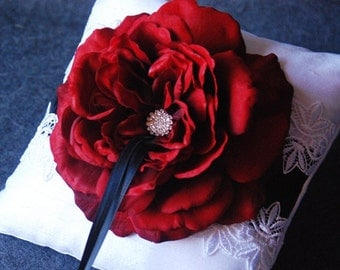 White Silk Ring Pillow with Black Ribbon, Lace and Red Flower - Scarlett