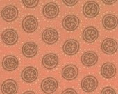 CLEARANCE - Moda Fabrics , Miyabe, Circles, Coral,  Metallic Gold Touches, Designer Cotton Quilt Fabric, Quilting Fabric