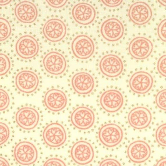 CLEARANCE - Miyabe - Circles - Ivory Coral - Moda Fabrics -  Designer Cotton Quilt Fabric - Polka Dots, Dots, Metallic Gold